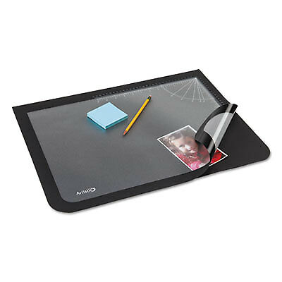 Lift-Top Pad Desktop Organizer with Clear Overlay, 22 x 17, Black 41700S