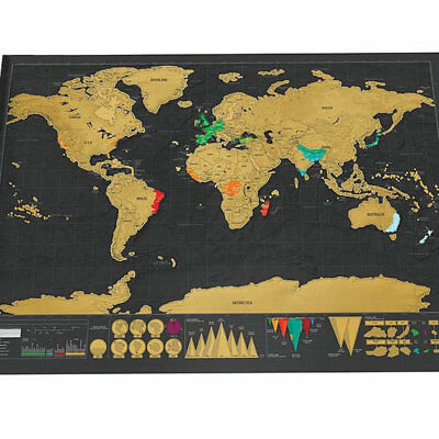 Travellers Small 40x30 cm Scratch Off World Map Travel Holiday Poster Wall Paper