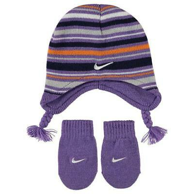 NEW Baby Girls NIKE Beanie & Mittens Set Gloves Winter Hat Purple 6-12 Months 1