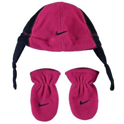 NEW Baby Girls NIKE Beanie & Mittens Set Gloves Winter Hat Pink 6-12 Months 1
