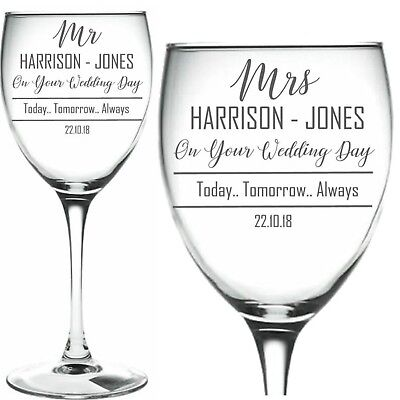 Personalised Engraved Wine Glass x2 Mr & Mrs Wedding Day Bride & Groom Gift