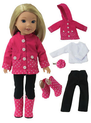 "Pink Polka Dot Rain Outfit Boots Fits Wellie Wishers 14.5"" American Girl Clothes"