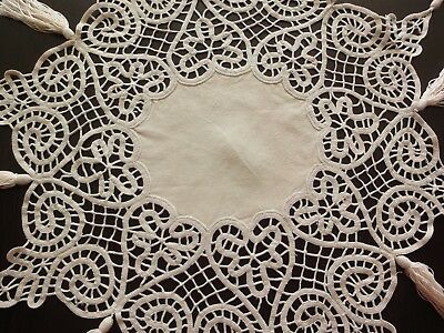 Vintage Handmade Linen Round Tablecloth Made with Unique Technique and Tassels