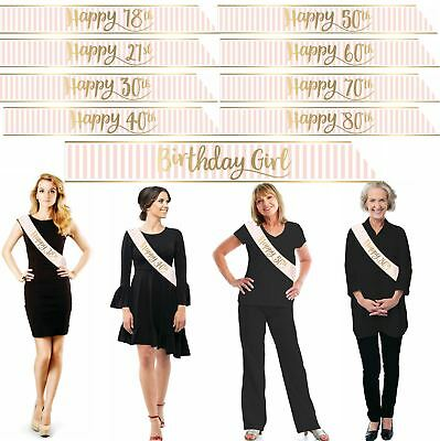 Pink Gold Foil Happy Birthday Sash Holographic Girl Decorations Party Metallic