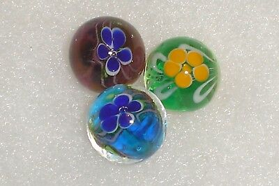 NEW SET OF 3 HANDMADE JETSTREAM 16mm GLASS MARBLES TRADITIONAL COLLECTORS HOM