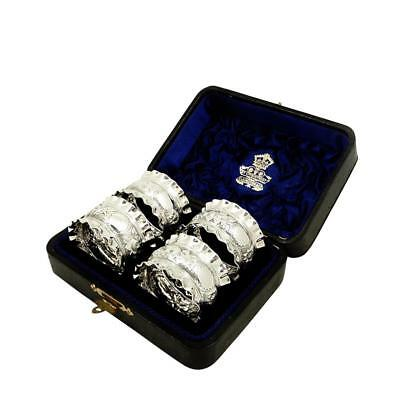 Set Of 4 Antique Victorian Sterling Silver Napkin Rings In Case 1891