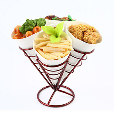 2pcs French Fry Stand 4 Cones Basket Holder for Fries Fish Chips Appetizers