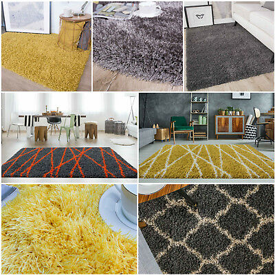 New Large Dense Thick Deep Shaggy Grey Ochre Neutral Living Room Bedroom Rugs