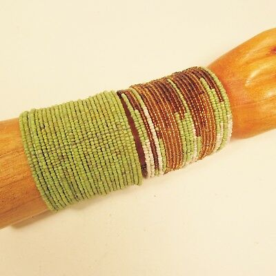 2 Green Gold Wide Color Block Bohemian Cuff Handmade Bracelet Bali Seed Beads