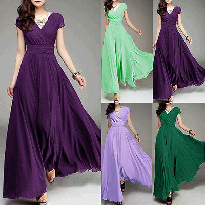 Women Long Formal Evening Prom Party Bridesmaid Chiffon Ball Gown Cocktail Dress