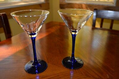 Set 2 Luminarc France Cobalt Blue Stem Clear Glass Martini Glasses