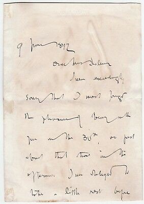 RARE Autograph Letter by Dracula Author Bram STOKER Signed Henry Irving 1892 COA