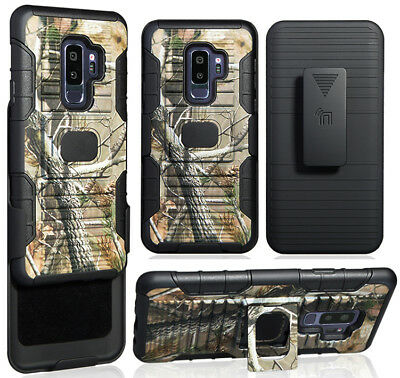 Camo Tree Magnet Grip Case + Belt Clip Stand for Samsung Galaxy S9 Plus, S9+