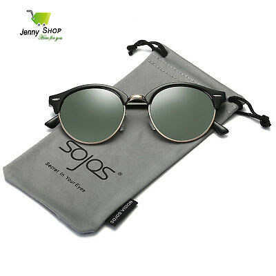 202823f4f20fd SojoS Classic Clubround Shades Semi-Rimless Unisex Sunglasses with Metal  Rivets