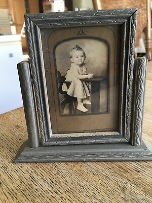 vintage free standing picture frame 1920s with old family photo of