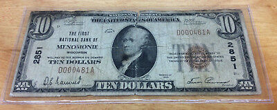 1929 $10 The First National Bank Of Menomonie, Wisconsin Charter #2851 Low #481