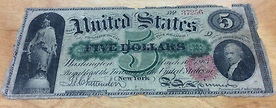 """1863 United States $5 """"legal Tender"""" Note - Old Civil War Currency - Neat Find!"""