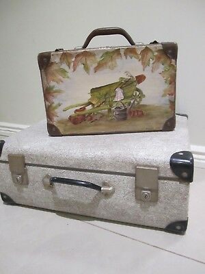 Vintage Wattle fiberboard school case/suitcase hand painted Folk art for display
