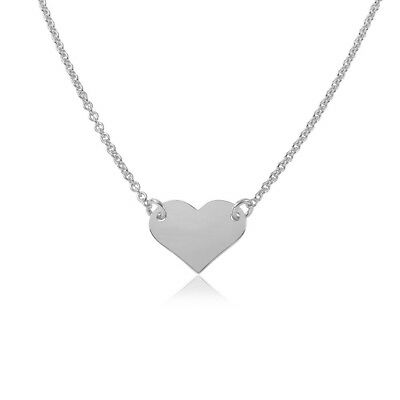 "Womens Girls Solid 925 Sterling Silver Plain Heart RH 16"" Chain Necklace"