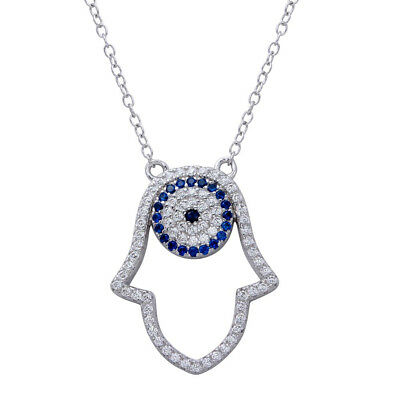 Womens 925 Sterling Silver Rhodium Plated Hamsa Pendant Necklace with CZ