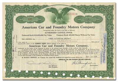 American Car and Foundry Motors Company Stock Certificate (Bus and Truck Maker)