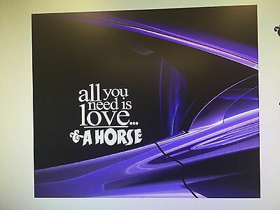 """all you need is love..& a horse"" Horse  Vinyl Decal Sticker 4.5 X 5"