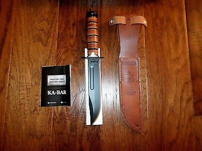 U.s Military Army Ka-Bar Knife & Leather Sheath Kabar Army Combat Knife