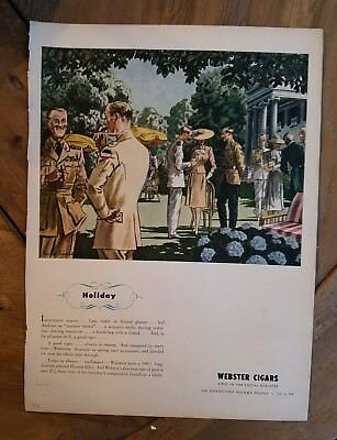 1944 Webster's cigars military men smoking holiday color vintage ad