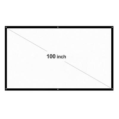 "100"" Projector Screen 16:9 Projection HD Foldable Home Theater Wall 3D Movies"