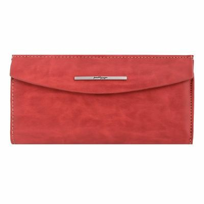 Damara Womens Retro Letter Metal Bar Card Case Concise Wallet,Wine Red