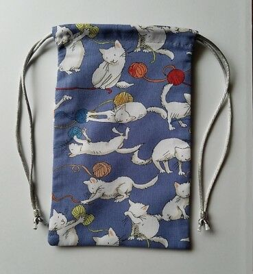 "Lined Kittens Playing With Yarn Bag  4"" x 6""  tarot cards decks runes jewelry"