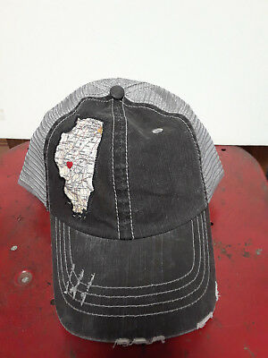 Black or Dark Grey Distressed Hat with State of Illinois Appliqued on Front -New