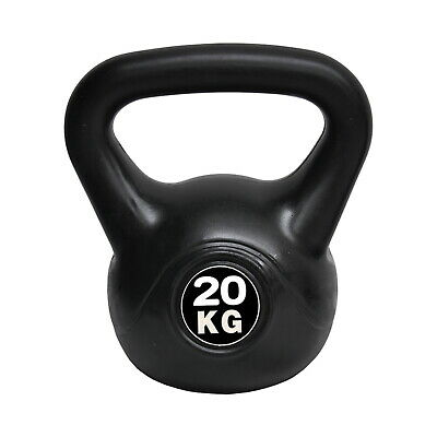 Energetics 20kg Kettlebell Black - Home Gym Kettlebell Weight Fitness Exercises