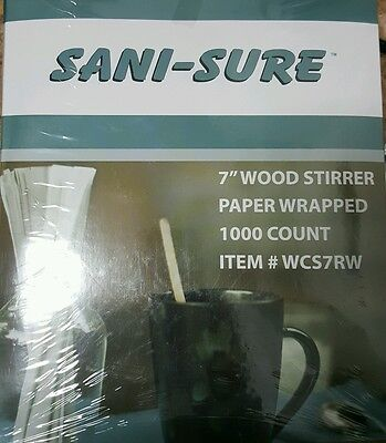 """Sani-Sure Individually Wrapped 7"""" Wood Coffee Stirrers 1000-pack"""