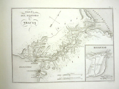 1825 ANTIQUE MAP ANCIENT Bosporus Thrace BULGARY  HISTORY ENGRAVING ARCHEOLOGY