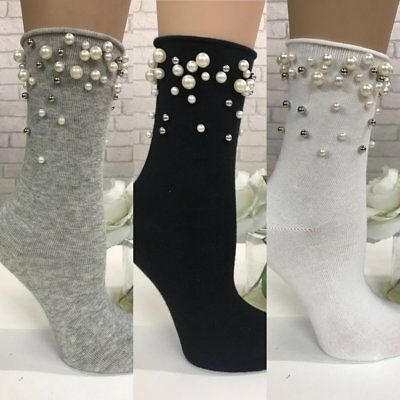 Women, Ladies, Pearl & Bead Embellished Detail Socks  Size 3 To 7,  3 Colours