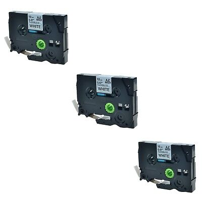"""3PK TZ TZe FX231 Black on White Label Tape For Brother P-Touch 12mm 8m 1/2"""""""