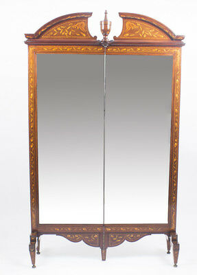 Antique Walnut Marquetry Mirror Screen / Cheval Mirror, c1830