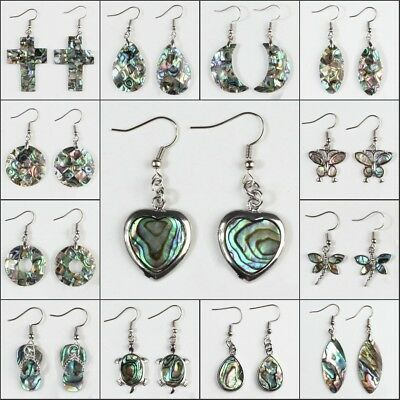 Natural Multicolor Abalone Shell Pendant Silver Hook Earrings New Fashion