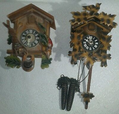 vintage hagos hrastnig kg cuckoo clock x2 made in Germany for parts not working