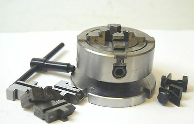 """70 MM 4 Jaw Independent Chuck on Backplate for 3 & 4"""" Rotary Tables"""