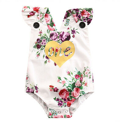 Baby Girls 1st First Birthday Romper Bodysuit Floral Outfits  Clothes US Stock