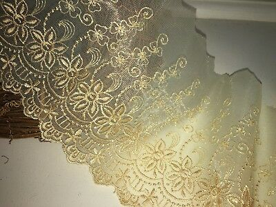 """5.5""""/14 CM Beautiful Gold Embroidered Tulle Flat Lace Trim.Sewing/Crafts/Bridal"""