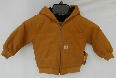 New Infant Carhartt Cotton Duck Active Jacket Brown Size 12 Month