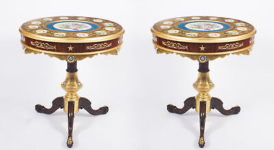Pair of French Ormolu & Sevres Style Porcelain Occasional Side Tables  20th C