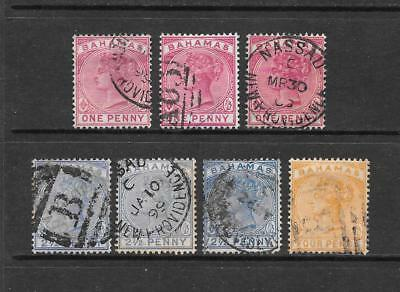 1884-90 Queen Victoria SG47 to SG53 inc. set of 7 stamps Used BAHAMAS