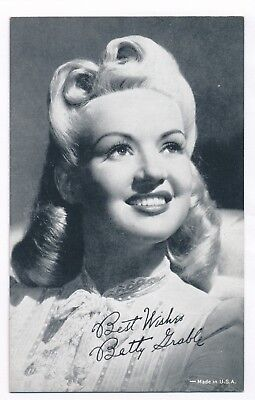"""Betty Grable Penny Arcade Vending Machine Card 3 3/8"""" x 5 3/8"""" Mutoscope 1940s"""