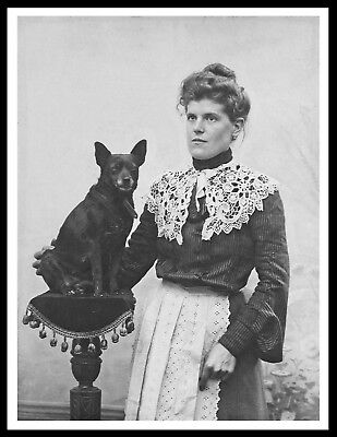 Schipperke Lady And Her Dog Vintage Style Photo Print Poster