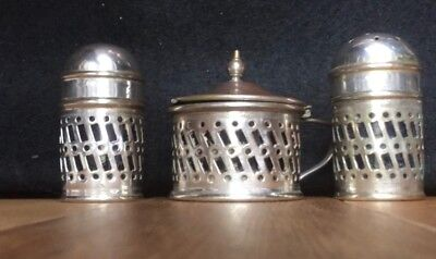 Vintage silver plate salt, pepper and mustard pot set - spoon missing. Pre-owned