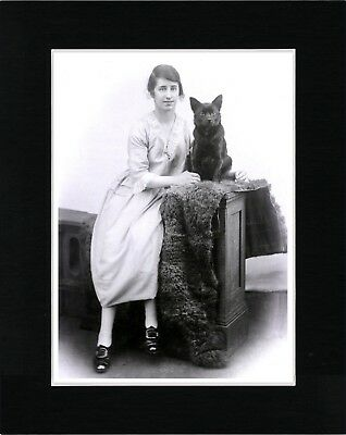 Schipperke Lady And Her Dog Vintage Style Dog Photo Print Matted Ready To Frame
